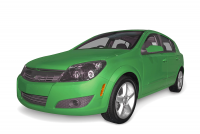 Bright green compact hybrid car