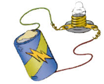 Illustration of a battery wired to a mini light bulb