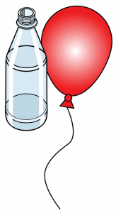 Illustration of a plastic bottle and red balloon