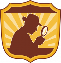 Illustration of a badge with a detective silhouette and magnifying glass